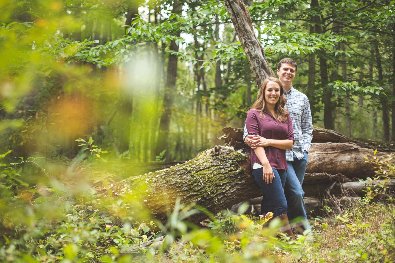 Engagement-Milford-Kensington-Metropark-Forest-Fallen-Tree-Portrait-Couple