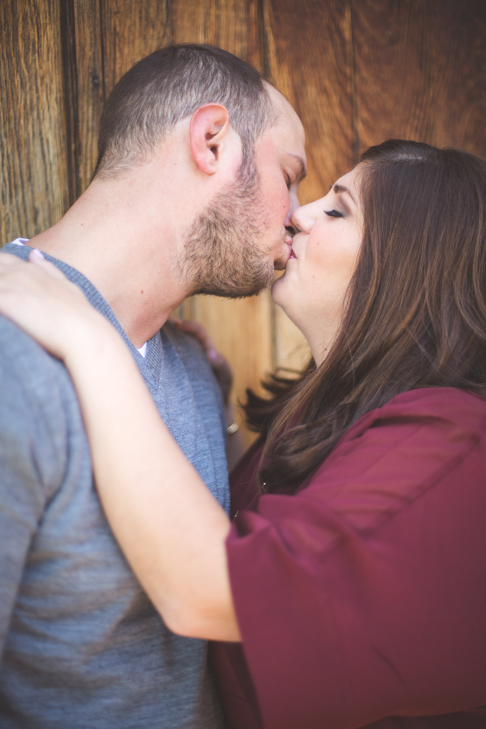 Engagement-Northville-Mill-Race-Village-David-Danielle-Kiss-Wooden-Door