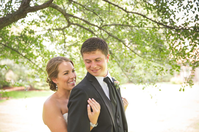 Dearborn-Wedding-The-Dearborn-Inn-Bride-Groom-Smile-in-Trees