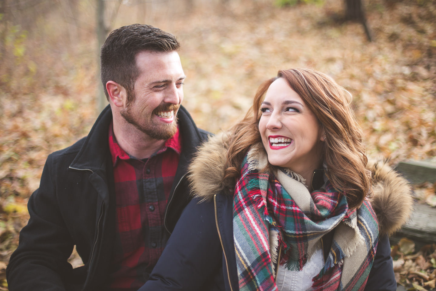 Michigan-Engagement-Photos-Autumn-Leaves-Laugh