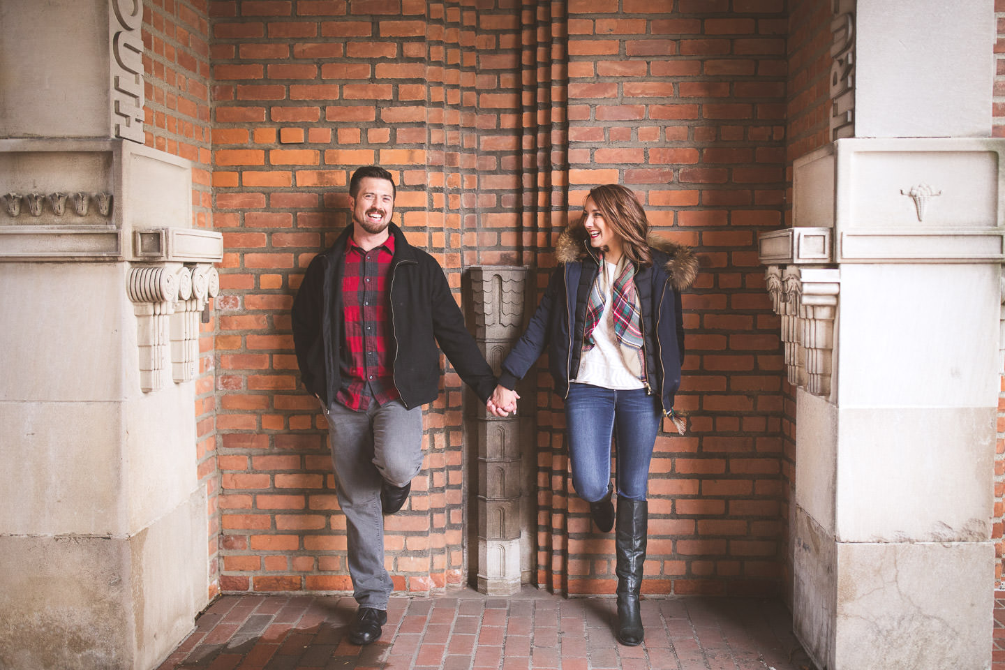Cranbrook-Engagement-Photos-Brick-Wall-Holding-Hands